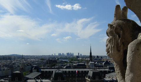 Notre Dame de Paris. View of the city from the tower.